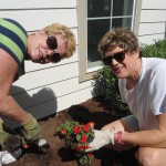 Janet and Robyn planting impatients