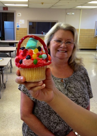 one of the girls make Miss Joyce a cupcake! It was so sweet
