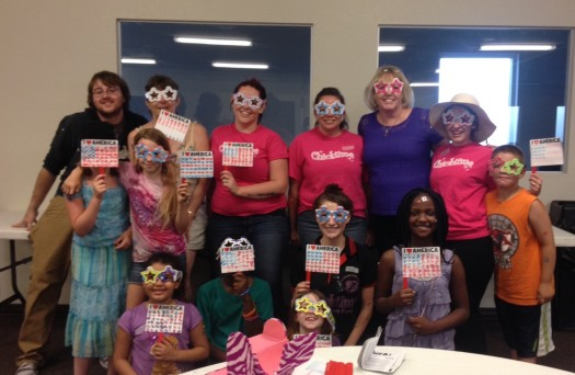 Post event pic with our fabulous glasses and flags!