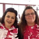 Juliet and Penny wearing their new Chicktime scarves!!