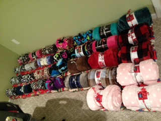 The gifts wrapped and ready to go to Vista Maria!